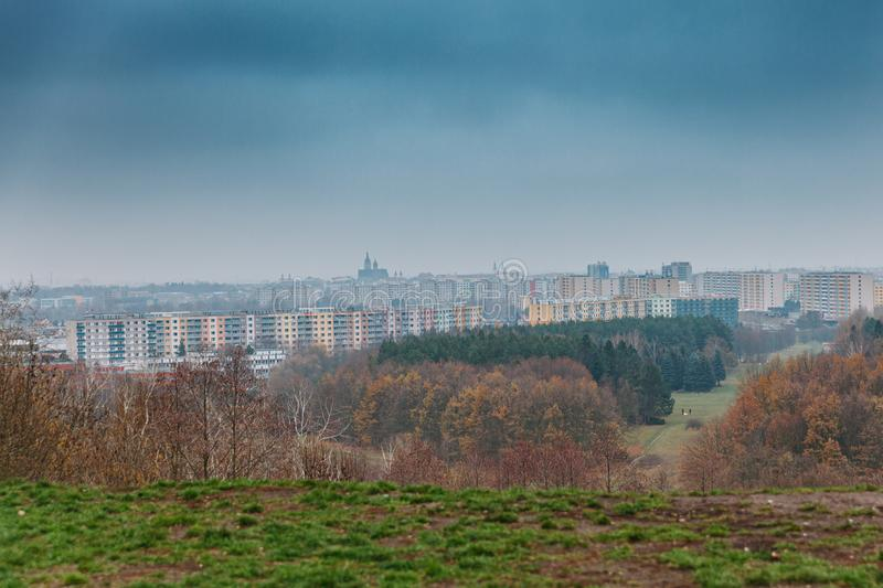 View of modern european city. housing estate full of prefabricated houses. modern architecture. Autumn, sky, building, urban, skyline, landmark, business stock photos