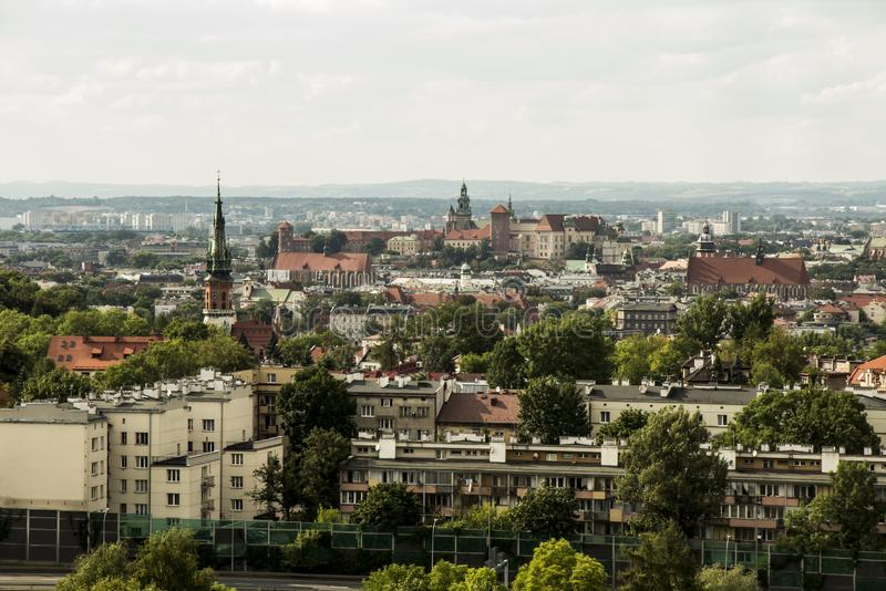 View of modern and historic Krakow from Krak Mound royalty free stock image