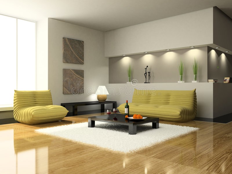 View on the modern living-room vector illustration