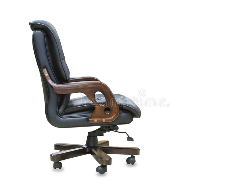 View modern office chair from black leather. Isolate stock image