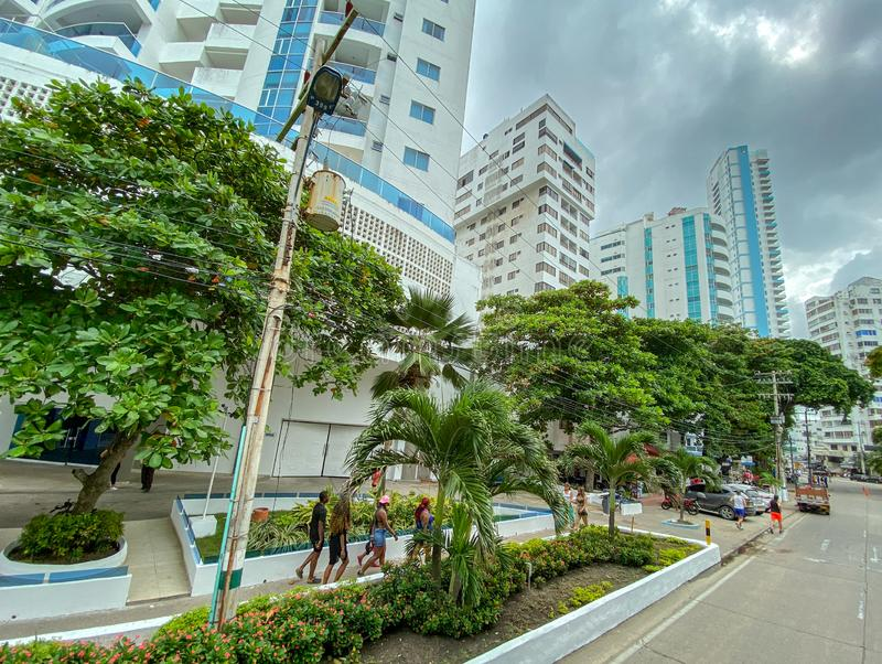 A view of the modern portion of Cartagena, Colombia with contemporary architecture royalty free stock image