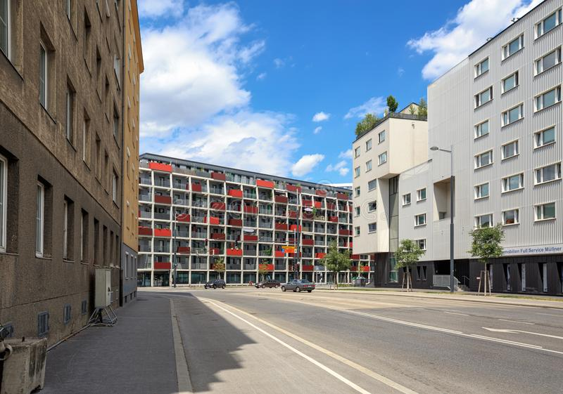 View of the modern residential buildings in the borough of Favoriten. Vienna, Austria. VIENNA, AUSTRIA - JULY 12, 2017. View of the modern residential buildings stock photography