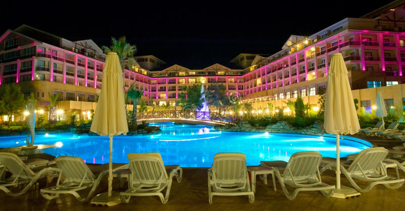 View of a modern resort in Kemer, Antalya. Night view royalty free stock photography