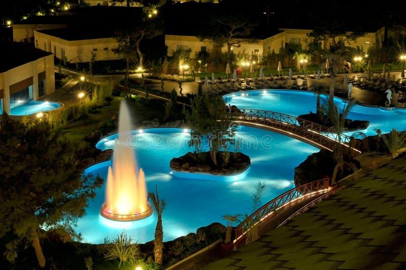 View of a modern resort in Kemer, Antalya. Night view royalty free stock photo