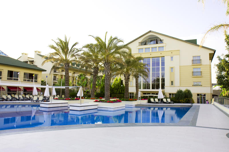 View of a modern resort with pool in Belek, Antaly. A - Turkey royalty free stock photo