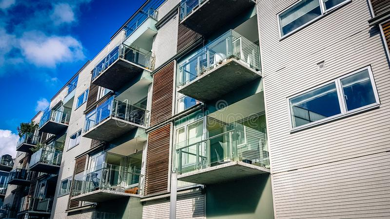Apartment block in Aarhus Denmark. View of modern style city centre apartment block in Aarhus Denmark royalty free stock images