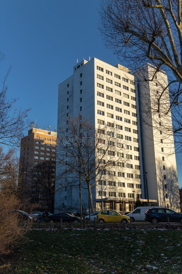 View of a modernized GDR residential tower stock images