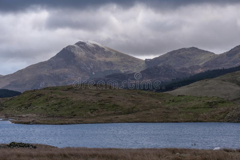 View of Moel Hebog Mountain. Snowdonia National Park in North Wales, UK. From Llyn Dywarchen royalty free stock images