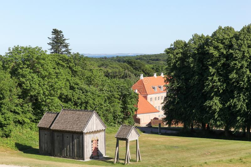 View of Moesgaard with a viking church. In Denmark stock photography