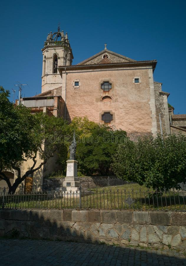 Southern view of Saint Mary`s parish church Moia. View at Moia, northeastern part of Catalonia, of the monument dedicated to the defender of Barcelona against royalty free stock images