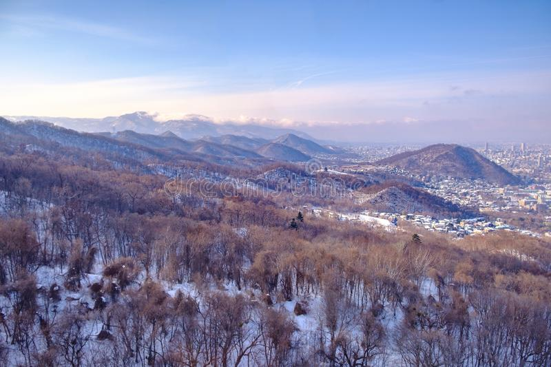 View of Moiwa ropeway. From the base of the mountain to the top in winter season stock photography