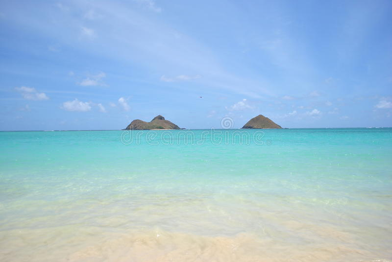 View of Mokolua Islands, Lanikai Beach Oahu royalty free stock image