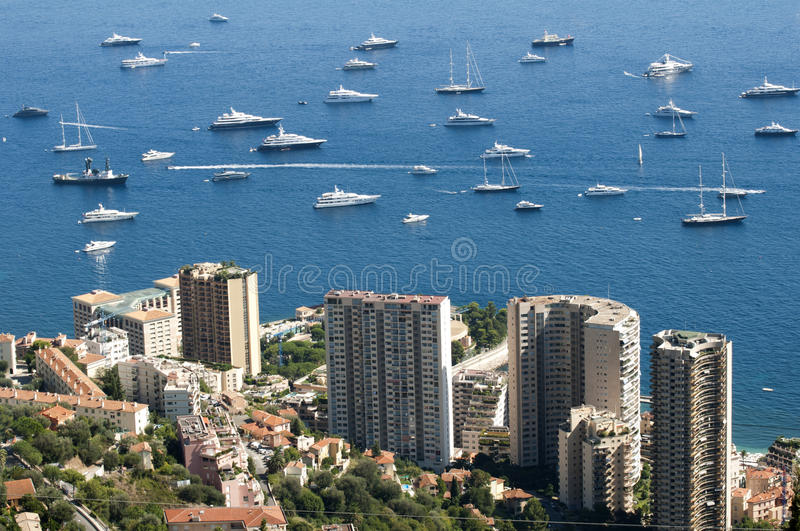 View of Monaco. And many yachts in the bay royalty free stock image