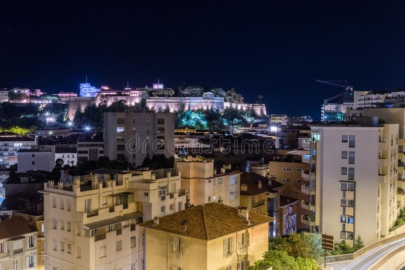 View of Monaco buildings at night.  stock images
