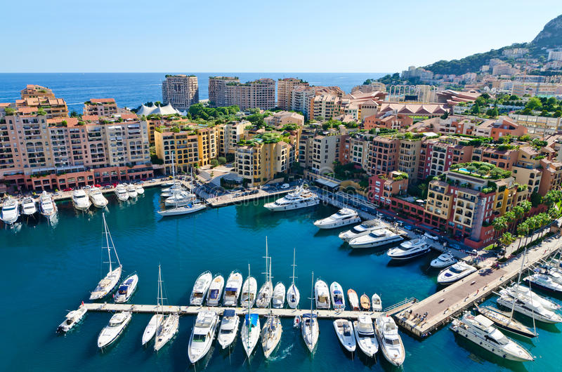 View on monaco harbor. View of Monaco overseeing the town and harbor royalty free stock images