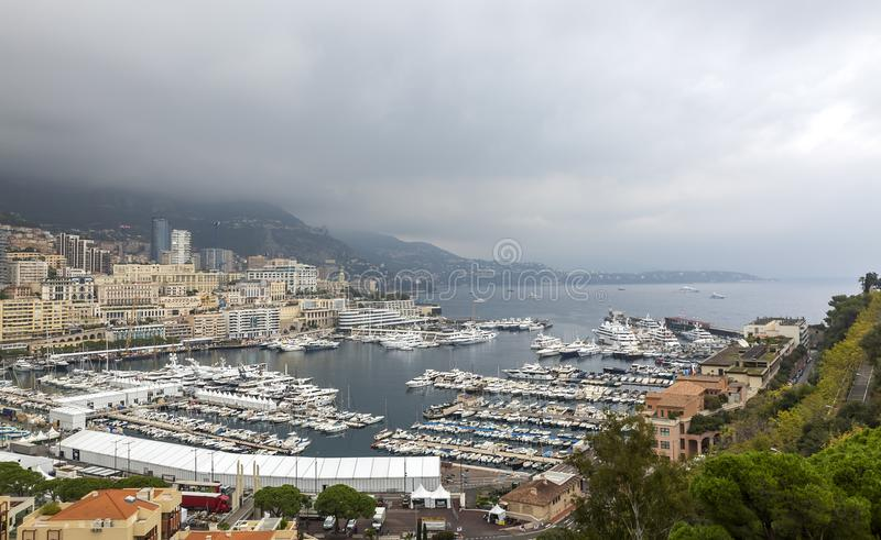 Monaco. View of Monaco Marina with rolling clouds in the background royalty free stock images