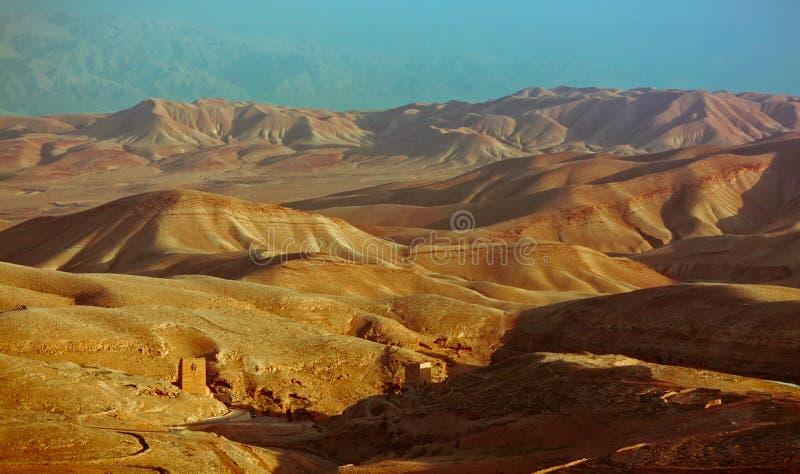 View on the Monastery in Judea desert stock photo