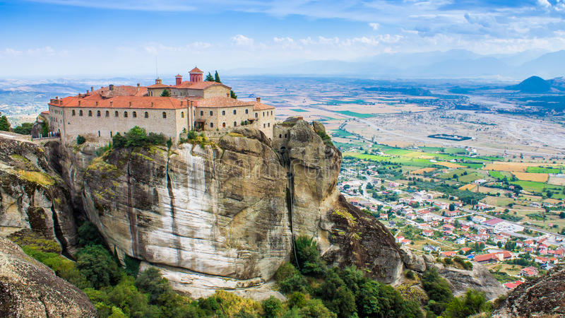 View of a monastery at Meteora, Greece stock photography