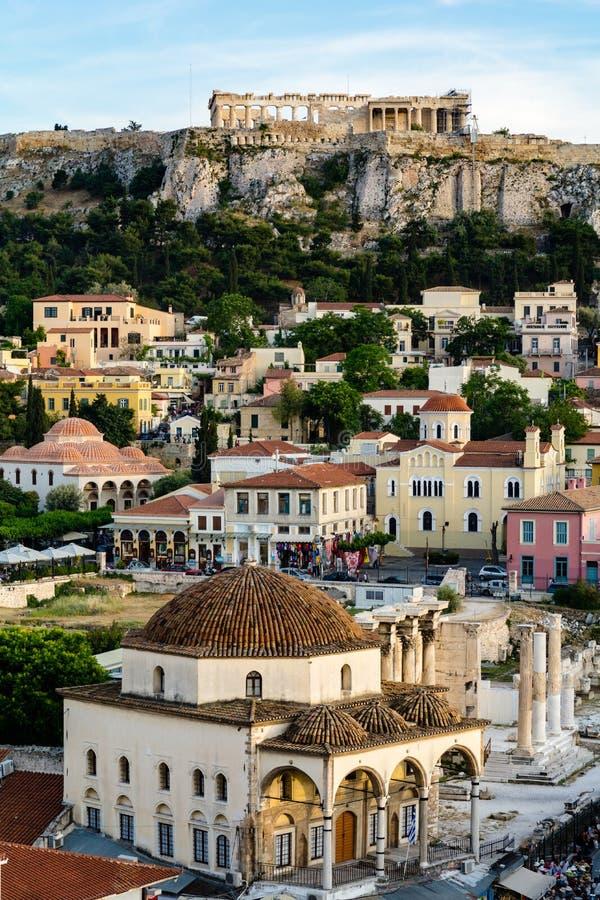 View of Monastiraki and Acropolis. Athens, Greece royalty free stock photography