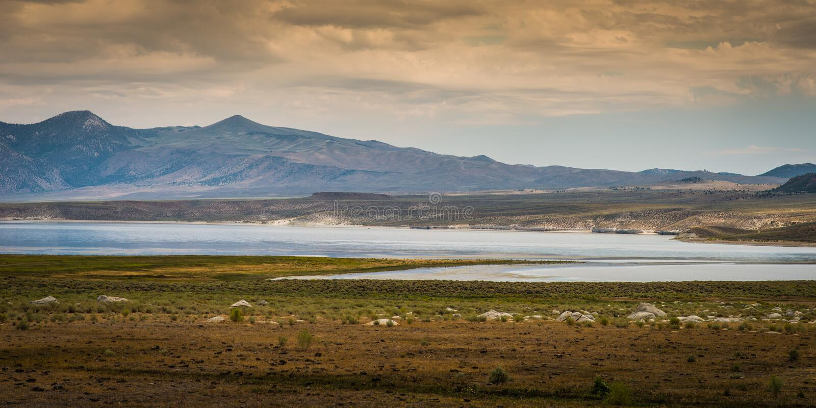 View of Mono Lake from Highway 395, California. U.S. Route 395 is a U.S. Route in the western United States. The southern terminus of the route is in the Mojave royalty free stock photo