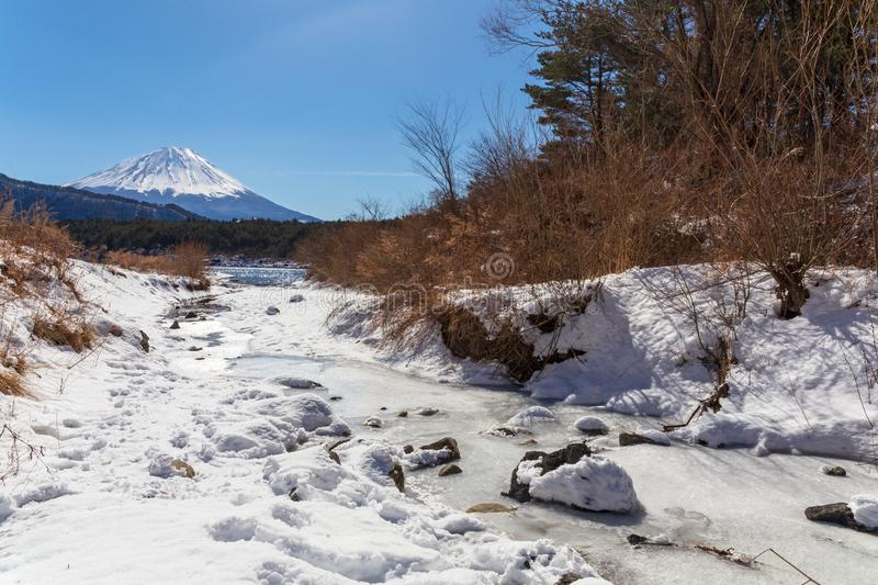 Mont Fuji on a clear winter day from a small stream, in Saiko lake area covered by pristine snow in the five lakes. Mount Fuji with a stream on the foreground on stock photo