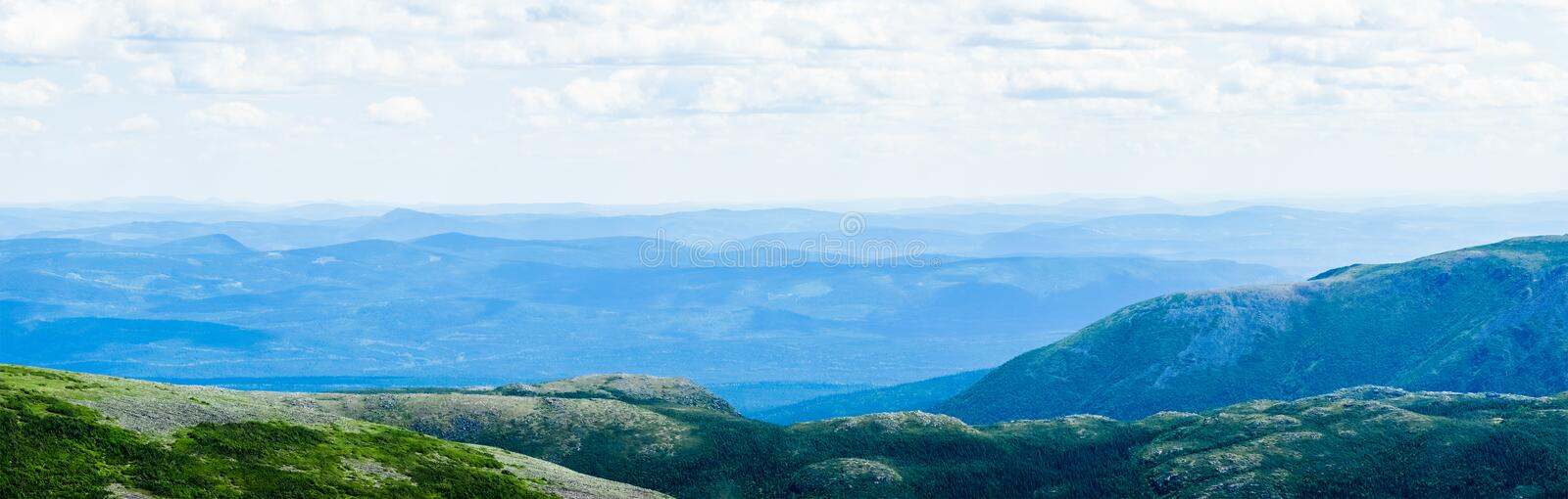 View from the Mont Jacques-Cartier. Panoramic View from the Mont Jacques-Cartier in Quebec, Canada royalty free stock photography