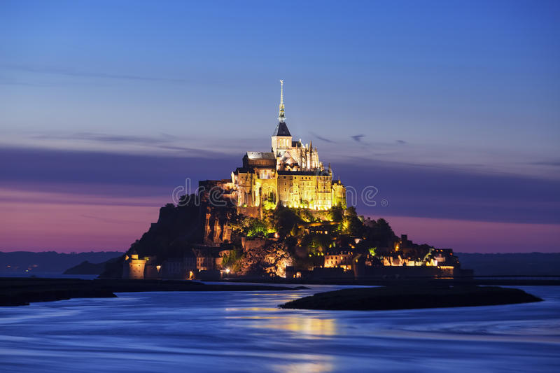 View of Mont-Saint-Michel by night. France royalty free stock photo