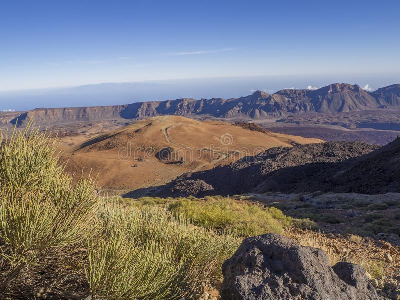 View on montana blanca on tenerife desert volcanic landscape wit royalty free stock images