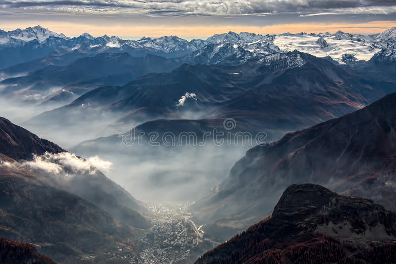 View from Monte Bianco Mont Blanc Valle d`Aosta. Italy stock images