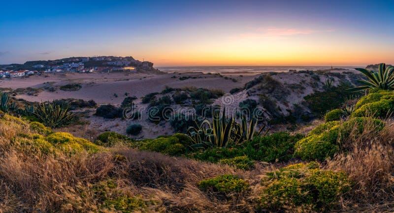 View of the Monte Clerigo beach on the western coastline of Portugal, Algarve. Stairs to beach Praia Monte Clerigo near Aljezur, stock photos