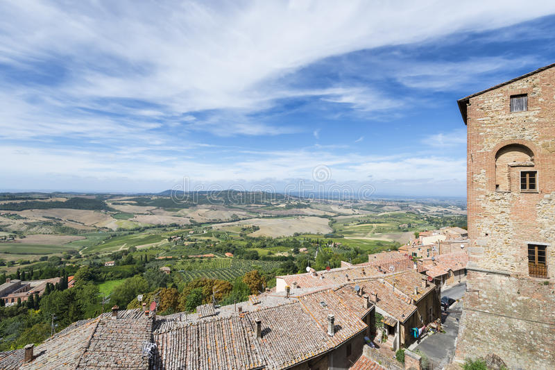 View from Montepulciano. To the typical Tuscany landscape stock photo