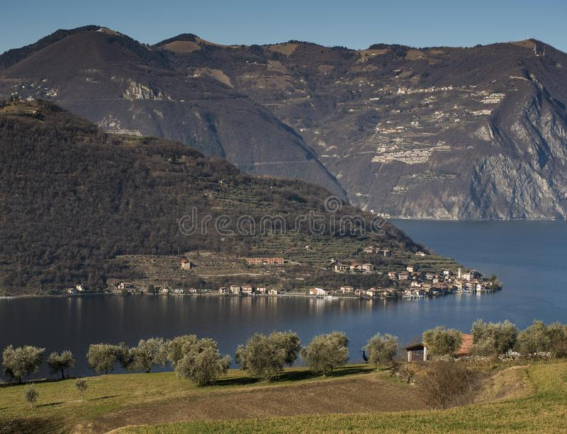 View of the Lake Iseo. View of Montisola,Island in the Lake Iseo in Italy stock images