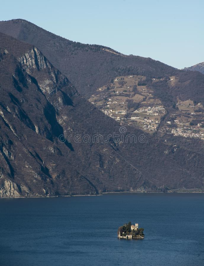 View of the Lake Iseo. View of Montisola,Island in the Lake Iseo in Italy stock image