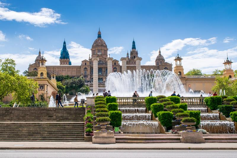 A view of Montjuic hill Magic Fountain and The National Palace stock images