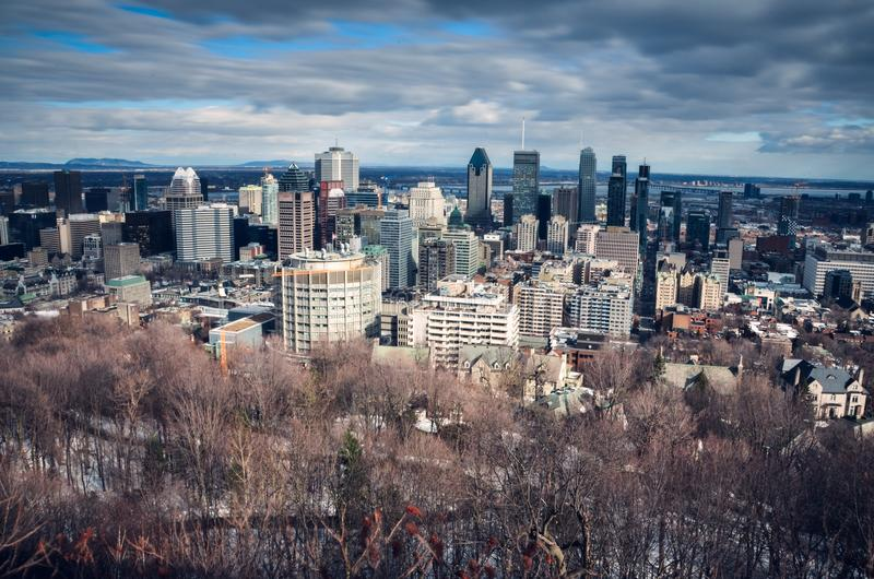 View on Montreal downtown from Mont Royal stock images