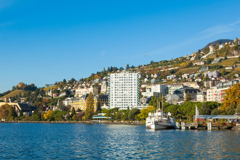View of Montreux waterfront, Switzerland. View of Montreux waterfront Switzerland royalty free stock photos