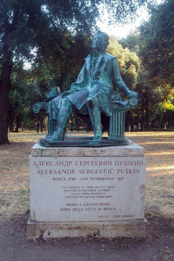 Monument to Aleksander Pushkin in Rome, Italy royalty free stock photography