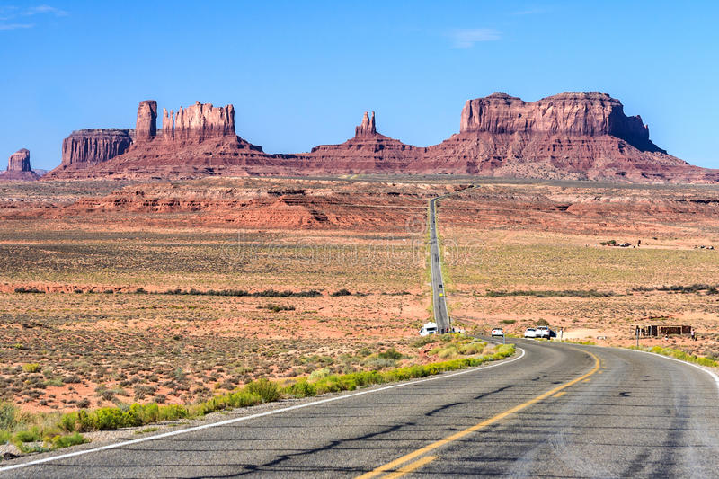 View of Monument Valley in Navajo Nation Reservation between Utah and Arizona stock images