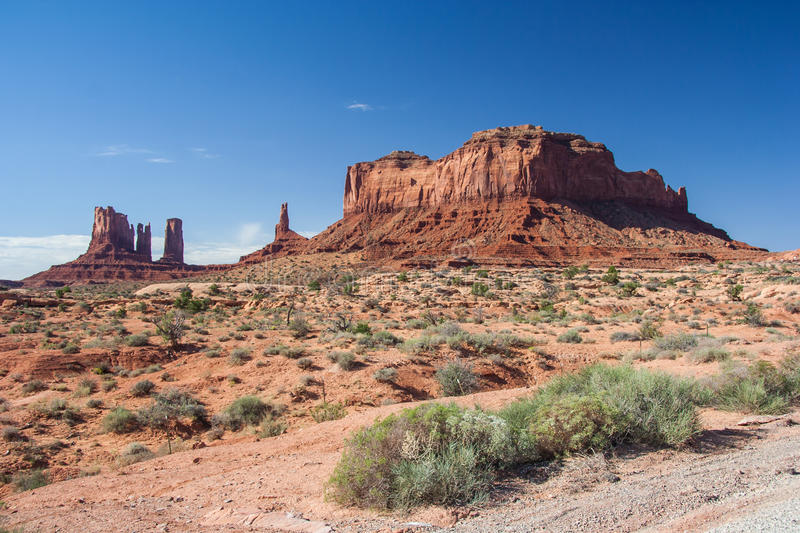 View of Monument Valley in Navajo Nation Reservation between Utah and Arizona royalty free stock images