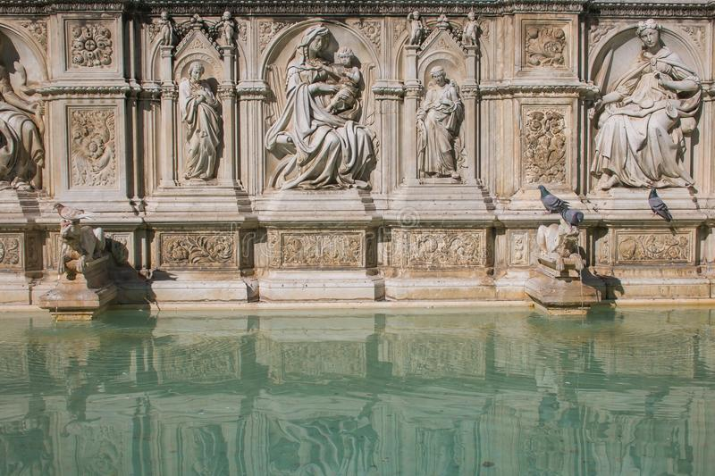 View of monumental fountain Gaia located in the Campo square of Siena royalty free stock photography