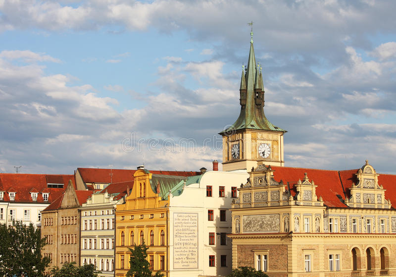 View of monuments from the river in Prague. royalty free stock image