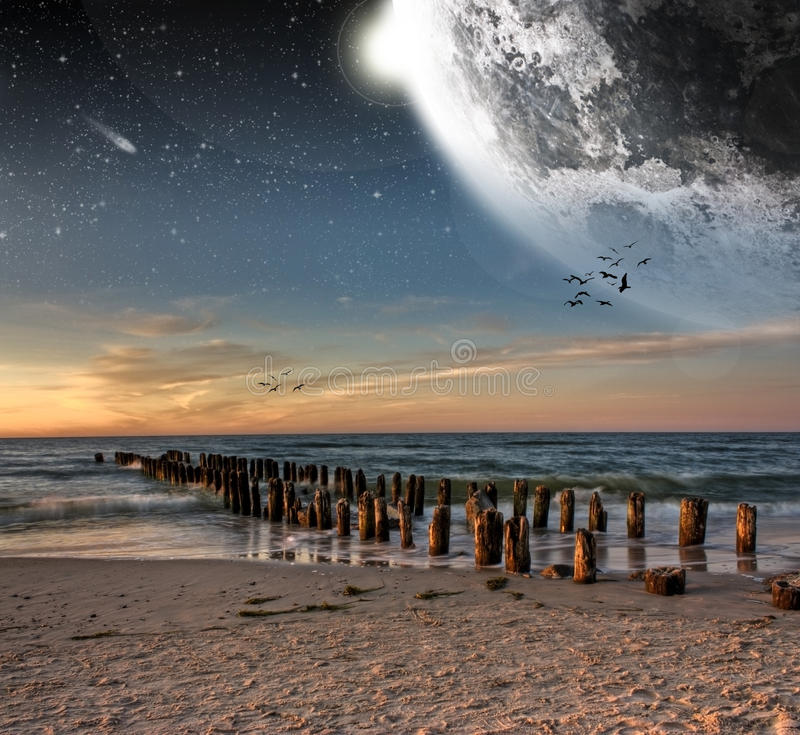 Download View Of The Moon From A Beautiful Beach Stock Illustration - Image: 13389334