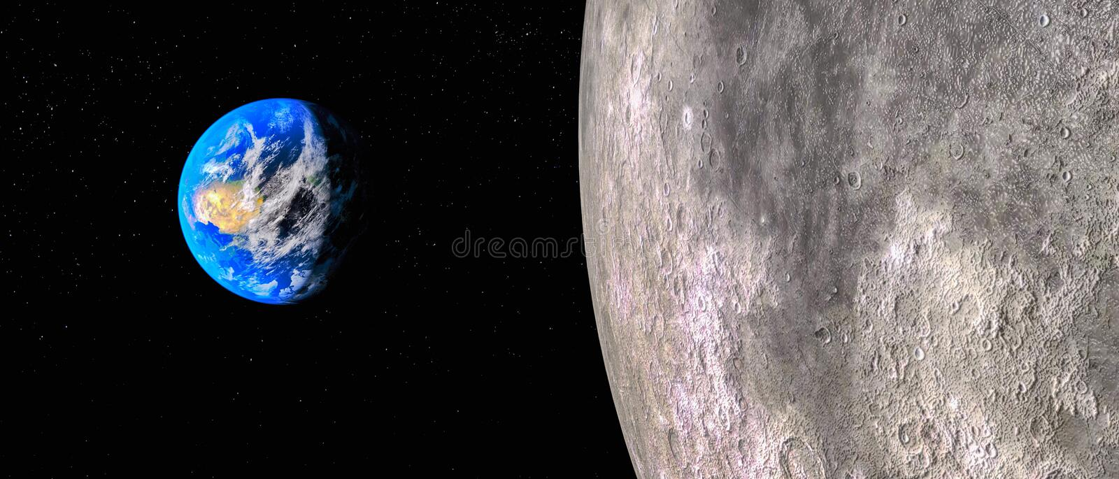 View from the moon to the earth 3d rendering.This image elements furnished by NASA vector illustration