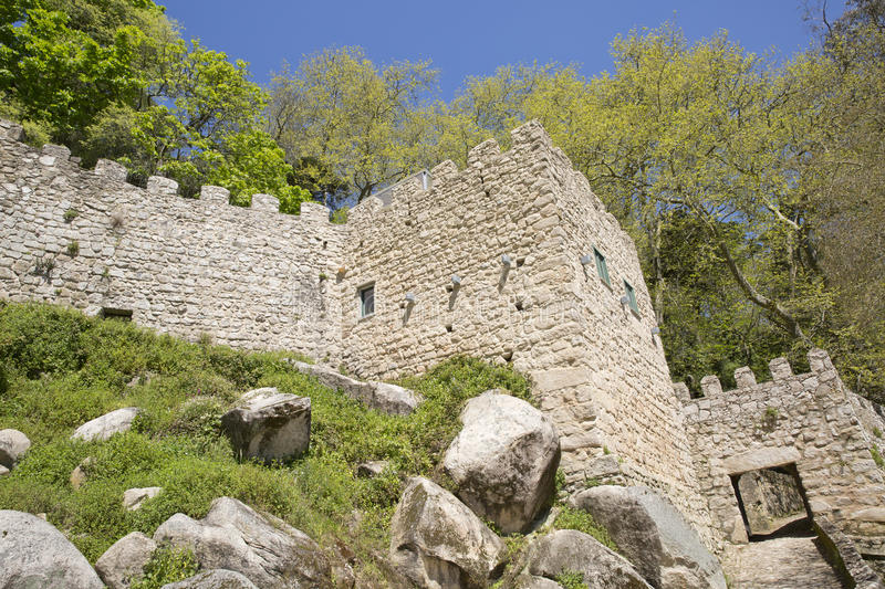 View of the Moors Castle from Palacio da Pena in Sintra, near Lisbon in Portugal. stock photo