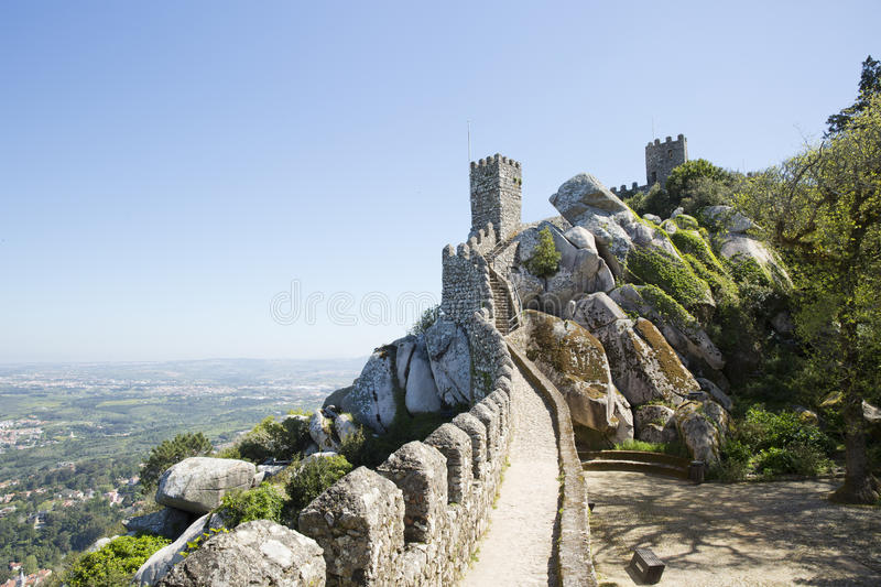 View of the Moors Castle from Palacio da Pena in Sintra, near Lisbon in Portugal. stock photography