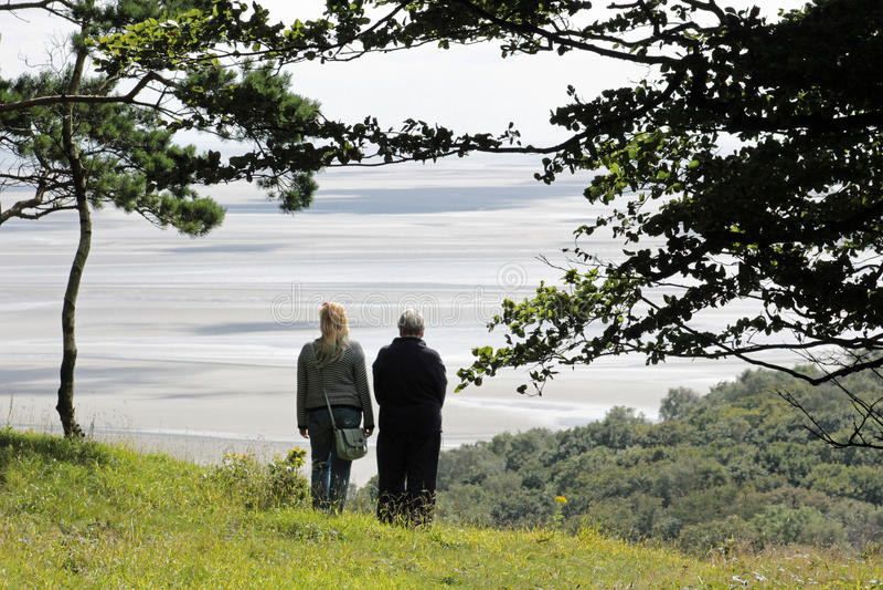 View Morecambe Bay from Arnside Knott, Cumbria stock photos