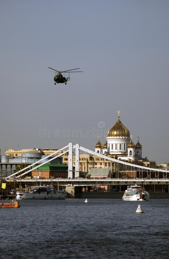 View of Moscow city center and its famous landmarks stock image