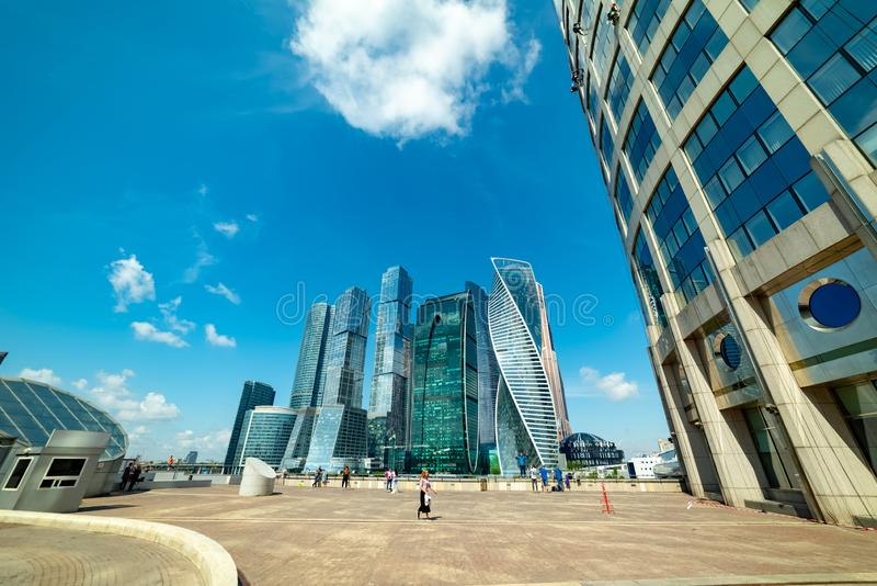 View of `Moscow city`  from Taras Shevchenko embankment. City the Moscow .view of `Moscow city` from Taras Shevchenko embankment.Russia.2019 royalty free stock photography