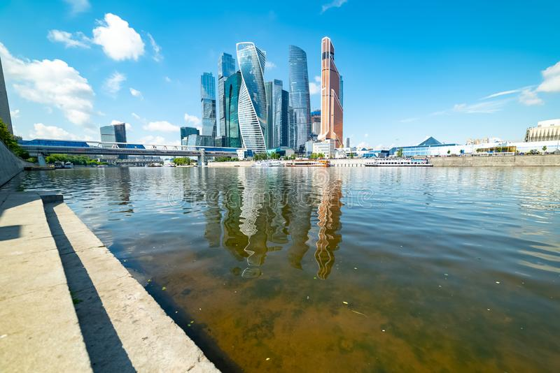View of `Moscow city` from Taras Shevchenko embankment. City the Moscow .view of `Moscow city` from Taras Shevchenko embankment.Russia.2019 stock photos