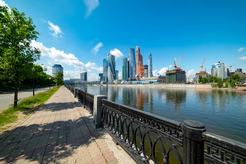 View of `Moscow city`  from Taras Shevchenko embankment. City the Moscow .view of `Moscow city` from Taras Shevchenko embankment.Russia.2019 stock photography